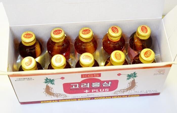 Nước hồng sâm nguyên củ thùng 10 chai 120ml thơm ngon bổ dưỡng