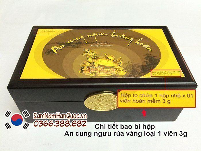 An cung ngưu hoàng hoàn rùa vàng hộp 1 viên trị tai biến não