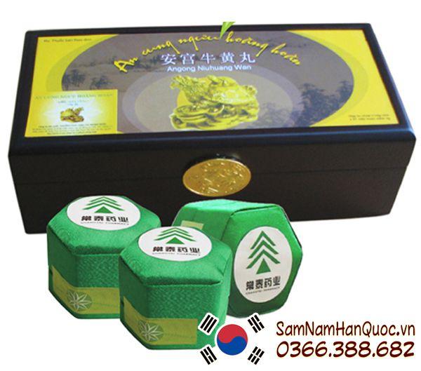 An cung ngưu hoàng hoàn rùa vàng hộp 3 viên trị đột quỵ tai biến