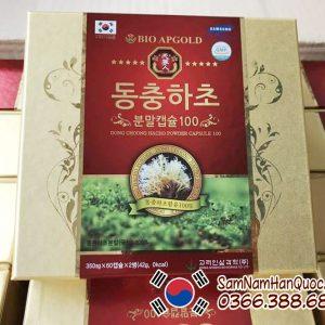 Viên đông trùng hạ thảo Bio Apgold Hàn Quốc hộp 2 lọ 120 viên