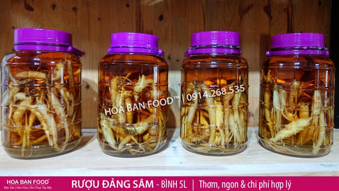 Đẳng sâm ngâm rượu (ảnh Hoa Ban Food)