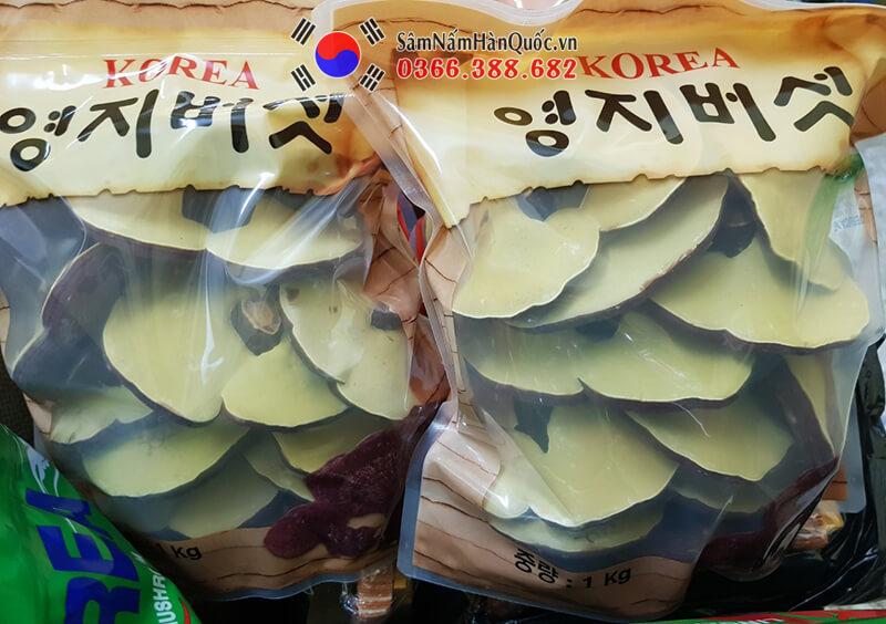 Nấm linh chi đỏ Hàn Quốc túi xếp màu vàng nâu cao cấp loại 1