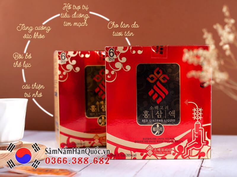 Nước hồng sâm Sobaek hộp 30 gói quà biếu tặng sang trọng